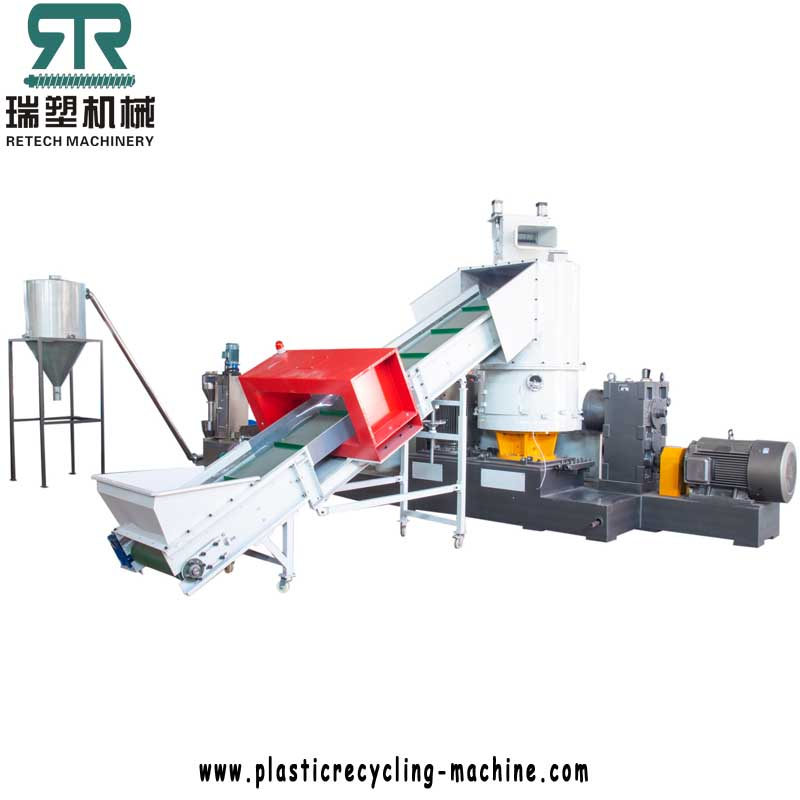 500kg/h PE LDPE HDPE BOPP LLDPE Film Compactor Double Stage Die Face Cutting Pelletizing Line
