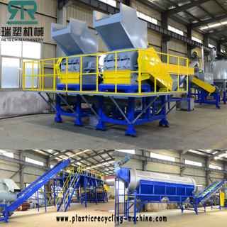 Plastic PP PE film bag crusher/PET HDPE bottle crushing machine crushing with water